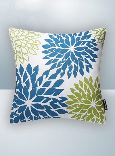 Blue Green Flower Design on Cool Magic Pillow