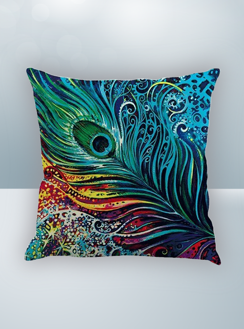 Blue and Green Peacock Design on Cool Magic Pillow