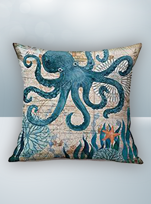 Blue Green Octapus & Sea Design on Cool Magic Pillow