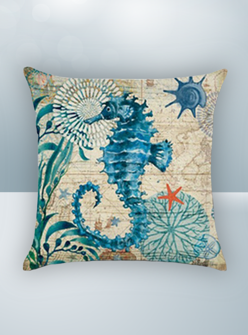 Blue Green Sea Horse & Walrus Design on Cool Magic Pillow