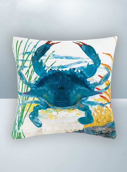 Blue Green Turquoise Crab Design on Cool Magic Pillow