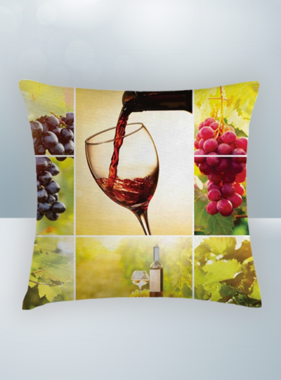 Red Wine pouring in glass and red grapes Design on Cool Magic Pillow