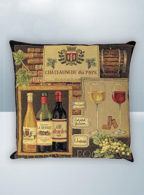 Red Wine & bottles & glass and red grapes Design on Cool Magic Pillow