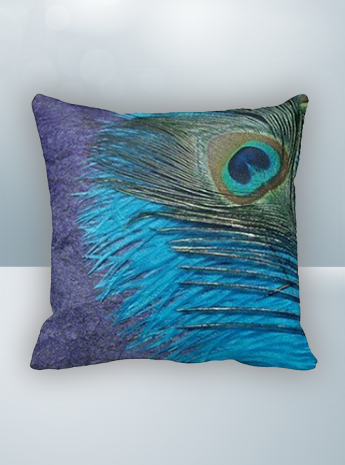 Purple Blue and Green Peacock Design on Cool Magic Pillow